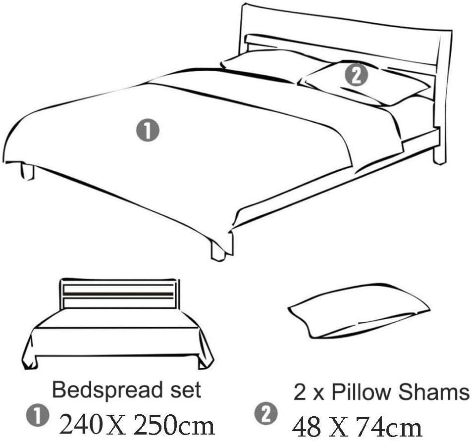 WDXN Parures de lit 2 Personnes-Couvre-lit Matelasse - Courpointe pour lit 240X250cm-2 Taies d'oreiller 48x74cm-100% Coton,Blue B