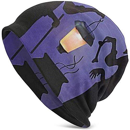 H.D. Beanies Hat Hexe Kessel Topf Solar Beleuchtete Laterne Halloween Silhouette Mens Slouchy Lange Beanie Strickmütze Für Sommer Winter,