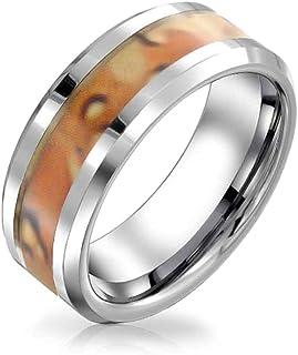 مجوهرات بلينغ براون الجيش العسكري التمويه إنشاء الأزواج التيتانيوم خاتم الزفاف للرجال النساء لهجة الفضة 8 مم