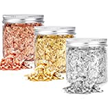 3 Bottles Gold Flakes for Resin, 9 Grams Gold Leaf Flakes, Metallic Foil Flakes for Resin Art, for Painting Arts, Crafts Nails, Diys, Furniture Decoration, Slime and Jewelry Making
