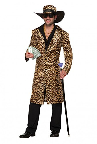 Funky Leopard Pimp Herren-Kostüm Gr. L Mantel und Hut Fell Lude Zuhälter Pelzmantel Stenz Assi Proll