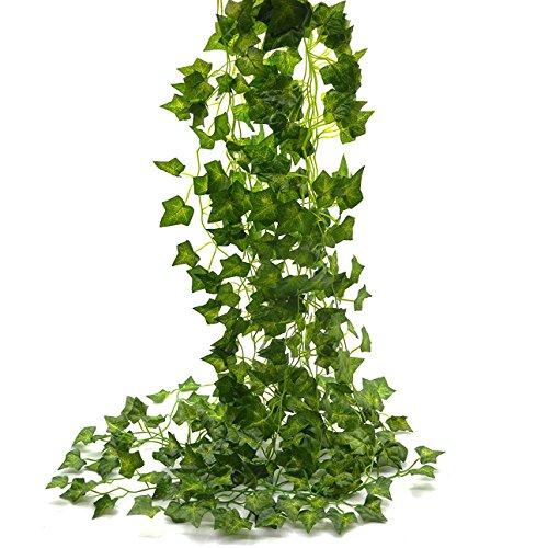 Beebel Ivy Leaves 85Ft 12 Strands Artificial Fake Leaves Hanging Vines Plant Leaves Garland Home Garden Poison Ivy Costume