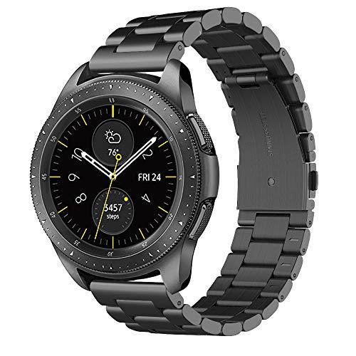 "Simpeak Cinturino Compatibile per Samsung Galaxy Watch 42mm/Galaxy Watch 3 41mm/ Active 2 40mm 44mm Banda in Acciaio Inossidabile con Chiusura Pieghevole Compatibile con Galaxy 42,5.5""-8.5"", Nero"