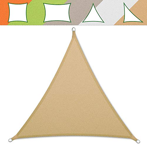 casa pura® Sonnensegel wasserabweisend imprägniert | Testnote 1.4 | Dreieck gleichseitig | UV Schutz Größen (Sandfarben, 3x3x3m)