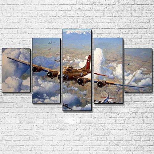 45Tdfc 5 Unidades Pictures Avión B-17 Painting Home Decor Modern Wall Art Canvas HD Prints Frame Modular Poster