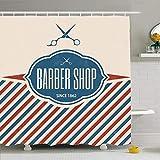 N / A Juego De Cortina De Ducha con Ganchos Retro Barber Texture Shop Vintage Paper Elemento Plantilla De Menú Etiqueta De Etiqueta Texto CláSico-W180xH180cm
