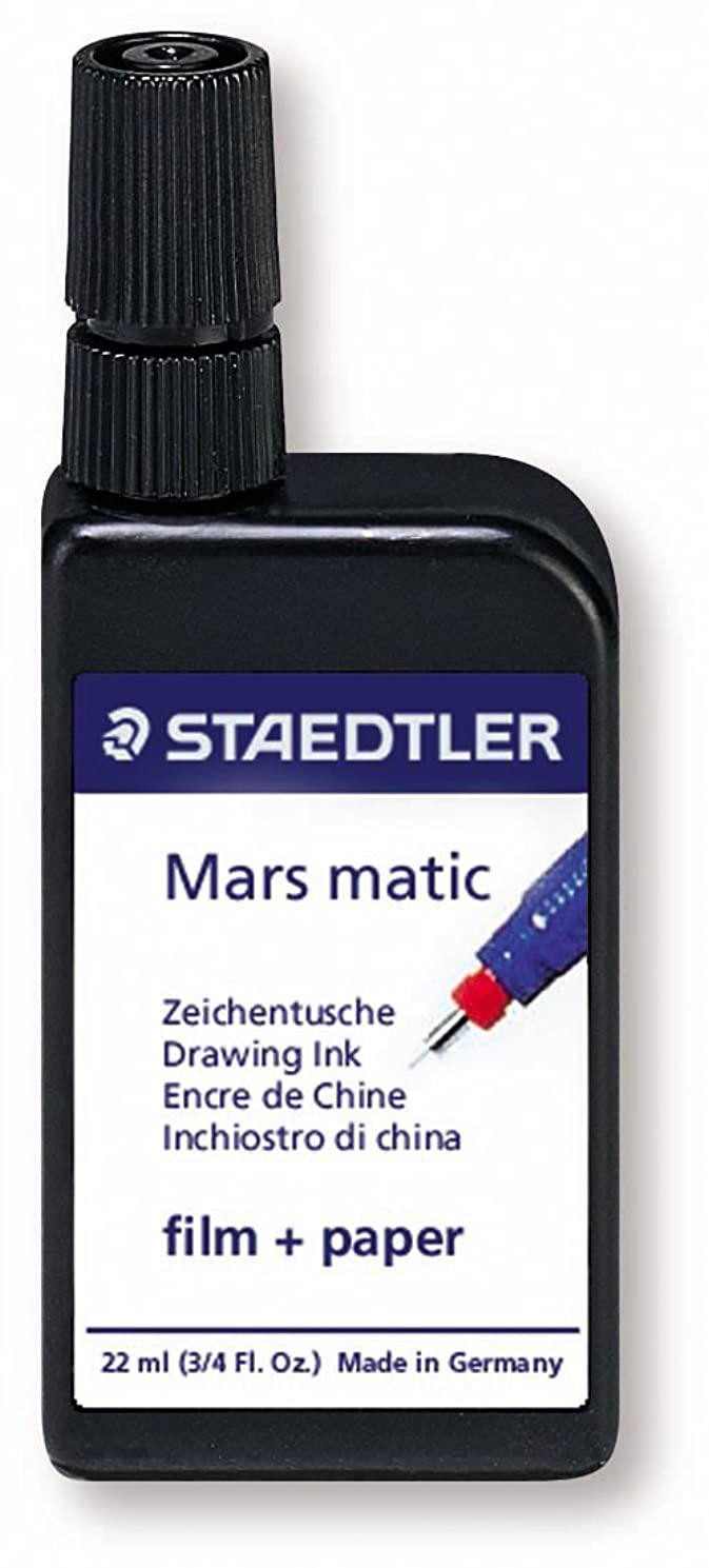 Staedtler Mars Matic Film and Paper Drawing Ink. Black 22ml.