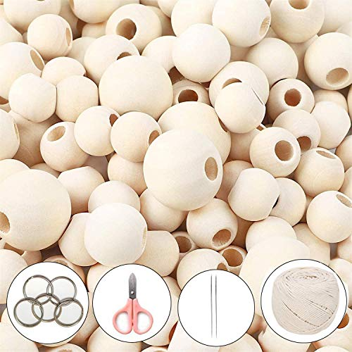 1300 Pezzi Perline Legno Naturale Perline Legno Rotonde Perline Naturali Kit per Decorazioni Artigianali Fai-da-Te 5 Formati (6mm/8 mm/10 mm/14 mm/20 mm), Bambini Kit di Creazione di Gioielli Fai da
