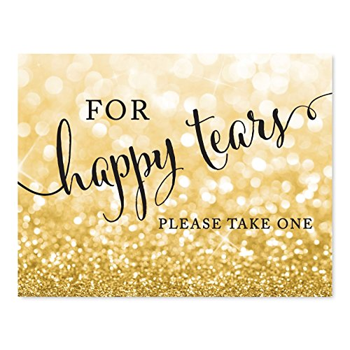 Andaz Press Wedding Party Signs, Glitzy Gold Glitter, 8.5x11-inch, For Happy Tears Tissue Kleenex Ceremony Sign, 1-Pack, Bokeh Colored Party Supplies