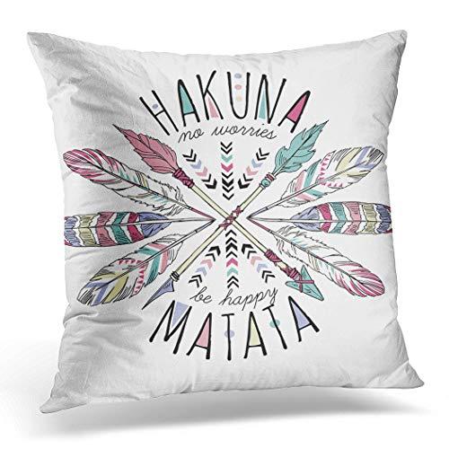 Topyee Funda de cojín tribal azteca letras hakuna matata verano pluma positiva eslogan 45 x 45 cm/18 x 18 pulgadas Home Decor Throw almohada funda cuadrada para cama sofá