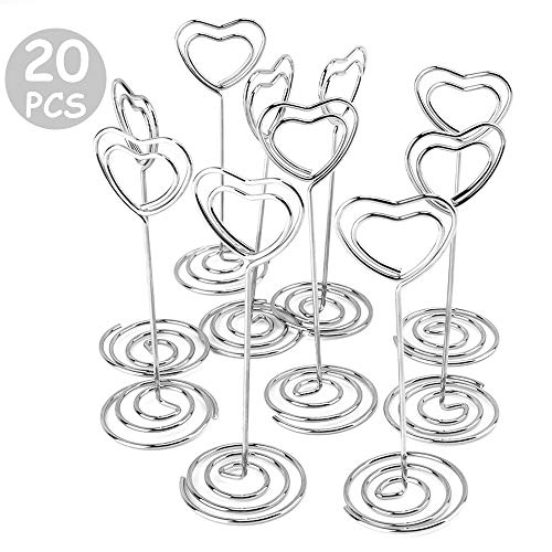 Miles Moon 20pcs 3.5 Inch Heart-shaped Holder Wire Photo Clips Place Card Holder Special Spiral Base For Tabletop Use