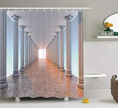 lovedomi Corredor Colonnade, suelo de mármol, biblioteca antigua, edificio gubernamental clásico, patrón decorativo antiguo, baño con cortina de ducha de tela de poliéster impermeable 183 x 183 cm