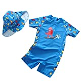 Baby Boys One Piece Blue Dinosaur Rash Guard Swimwear Sun Protection UPF50+ Beach Bathing Suits Quick Dry Swimsuits 95/105
