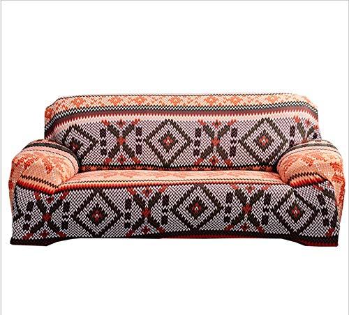 INFANDW Impresión Funda para sofá elástica Antideslizante, 1/2/3/4 plazas, Naranja Poliéster y Elastano Fundas de sofá Suaves duraderas Protector para Mascotas, 3 plazas: 195-230cm