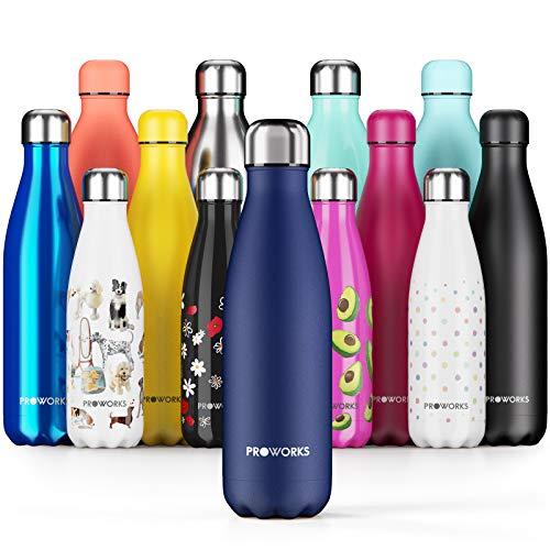Proworks Edelstahl Trinkflasche | 24 Std. Kalt und 12 Std. Heiß - Premium Vakuum Wasserflasche - Isolierflasche für Sport, Laufen, Fahrrad, Yoga, Wandern und Camping - 750ml - Mitternachtsblau