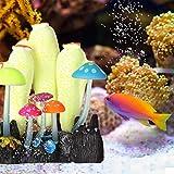 Acuario Brillante Coral Decoración Fish Tank Artificial Planta de Silicona Ornamento Luminoso Emulación Subacuática Gel de Sílice Planta Decoración(Blanco Amarillo)