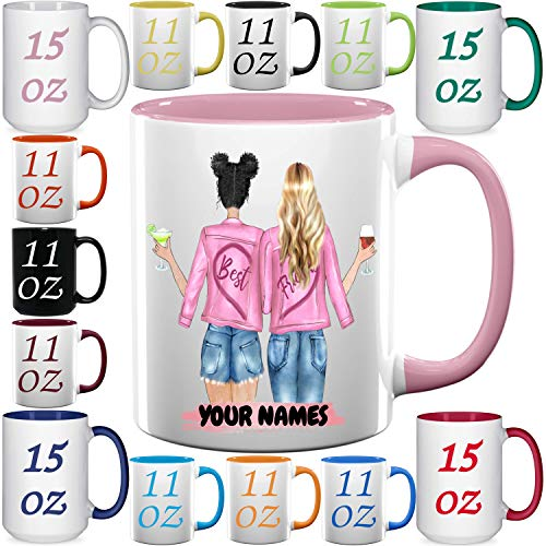 Custom Bst Friends Coffee Mugs - Personalized Friendship Cups for bstie, BFF, Long Distance and Birthdays - 11 & 15 oz