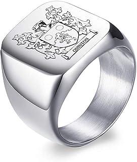 Vnox Stemma Personalizzato per la Famiglia/Logo/Emblema Nazionale/Anello con Sigillo Anello in Acciaio Inossidabile per Uomo