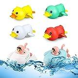 OYMMENEY Badewannen Spielze,Baby Badespielzeug,Schwimmen Badespielzeug badespielzeug für Babys,Uhrwerk Badewannenspielzeug,Schwimmende Ente, U-Boot, für Kinder Baby ab 18 Monate+