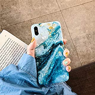 iPhone X Case Marble iPhone 10/Xs Case Girls Women Cute [Tinfoil] Pearly Glitter Phone Case Protective TPU Silicone Case for iPhone X/Xs 5.8 inch (Blue White)