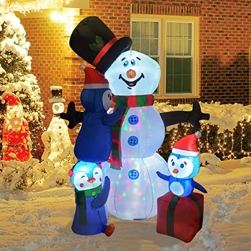 GOOSH 6Foot High Christmas Inflatable Blow up Snowman with Three Penguins Yard Decoration, Indoor Outdoor Garden Inflatable Christmas Decoration.