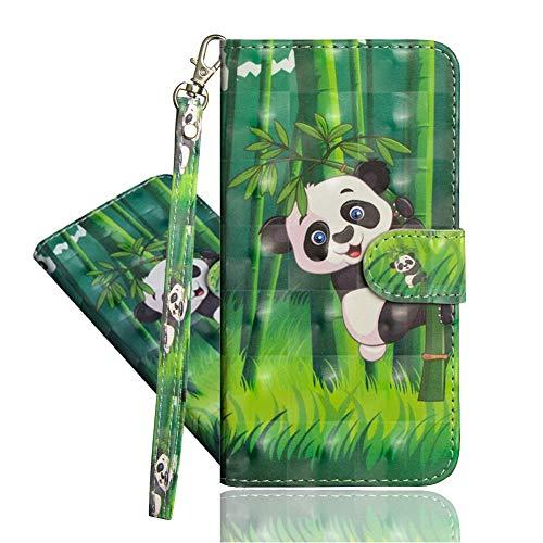 IMEIKONST LG G6 Mini Funda PU Cuero 3D Effect Shell Magnetic Clasp Antigolpes Durable bookstyle Card Holder Cartera Soporte Flip Funda para LG Q6 / Q6 Plus Climbing Panda YX