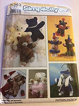 Simplicity 8363 Sewing Pattern Stuffed Bears and Accessories One Size
