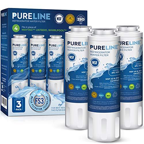 Pureline Replacement For Whirlpool Filter 4, UKF8001, EveryDrop EDR4RXD1, 4396395, Maytag UKF8001 Refrigerator Water Filter, UKF8001AXX, UKF8001AXX-750, FMM-2, WRX735SDHZ00, 3-Pack