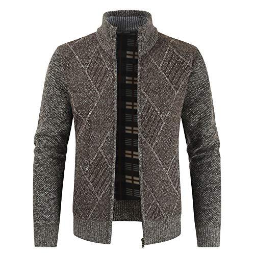 Cárdigan suéter para Hombre Cárdigan de Punto de otoño con Cuero Cárdigan clásico con Cremallera Frontal Abierto Casual y cómodo