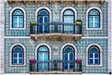 Fachada de edificio de apartamentos en Lisboa Rompecabezas de madera para adultos Regalo creativo Juguetes Rompecabezas Decoración para el hogar, 1000 piezas, 75 * 50 cm