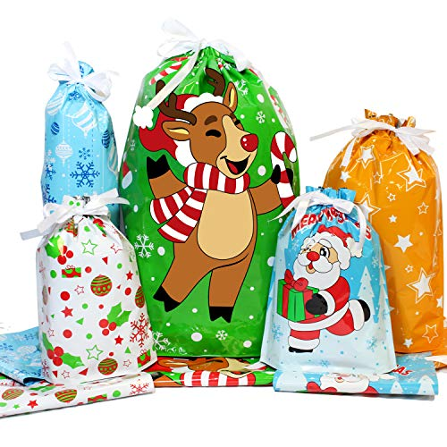 36 Christmas Holiday Drawstring Goodie Gift Bags Assorted Sizes for Kids Xmas Party Gift Wrapping Bags
