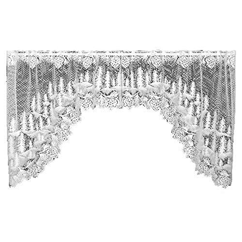 Heritage Lace Pinecone 70-Inch Wide by 38-Inch Drop Swag Pair, White