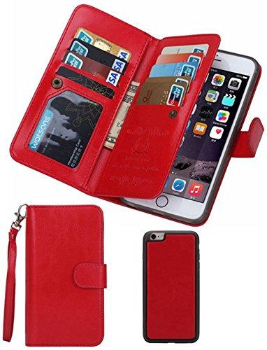 Cyber Deals Monday Deals Sales 2018-For iPhone 6/6s Wallet Case,Valentoria Leather Wallet Case Magnetic Detachable Slim Back Cover Card Holder Slot Wrist Strap (Red)