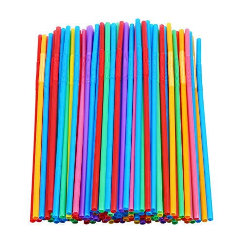 200 Pcs Colorful Plastic Long Flexible Straws.(0.23'' diameter and 10.2