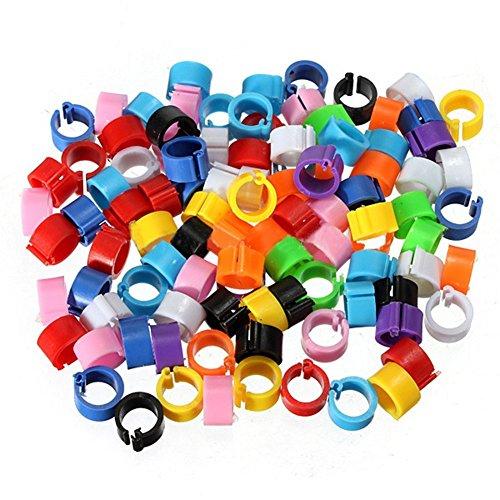 Keersi 100 anillos para patas de 8 mm con clip para pájaros, para palomas, pollitos, codornizas, codornizos, gallinas, pollos pequeños (colores mixtos)