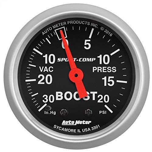 Auto Meter 3301 Sport-Comp Mechanical Boost/Vacuum Gauge, 2.3125 in.