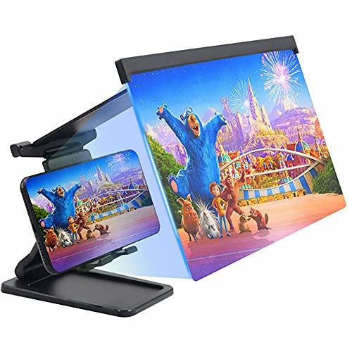 スクリーンアンプ スマホ画面拡大鏡スタンド 画面拡大ルーペ 画面拡大+スタンド両用 Deear 組み立て式 12インチ 携帯便利 目の保護 全部スマートフォンに適用 ブラック