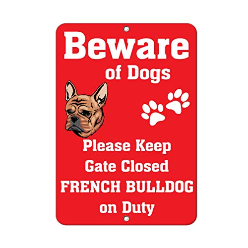 ZMKDLL French Bulldog Dog Beware of Fun Metal Sign Wall Decor 12'x8'