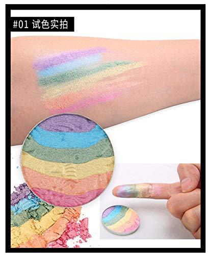 BenedictGladysd 6-Farb-Highlight Regenbogen-Augen-Schatten-Paletten-Primer Lidschatten Wasserdicht Matte Langlebige Oranger Lidschatten Nude Pigment Tempting colors (Color : 01)