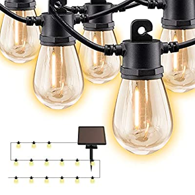 LED Solar String Lights Outdoor,34ft Hanging 15 Edison Bulbs String Lights Solar Powered Waterproof &Shatterproof Strand for Home Garden Backyard Patio Pergola Bistro Party Wedding Christmas WarmWhite