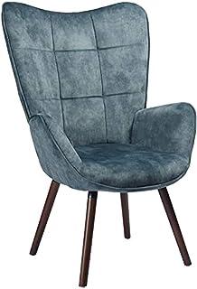 MEUBLE COSY Grand Fauteuil au style scandinave avec un revêtement en tissu bleu, des accoudoirs rembourés et des pieds en ...