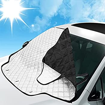 MATCC Windshield Sun Shade Car Windshield Snow Cover Frost Guard Windshield Ice Cover for Ice and Snow for Winter Car Truck Van SUV Jeep with 3 Magnetic Edges and 2 Side Mirror Loops Snap