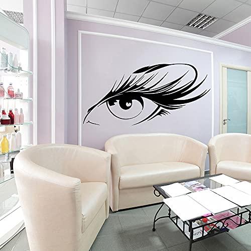 AiEnmaw Hermosa etiqueta engomada de la pared del ojo de las pestañas de la tienda de uñas del maquillaje del salón de belleza del ojo de la pared de la ventana del pelo de la tienda de uñas