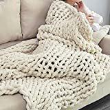 Bizak RD Chunky Knit Blanket – 50'x60' – Ultra-Soft Warm and Cozy 100% Chenille Blanket – Luxurious Design for Home Décor – Super Snuggly Chunky Blanket – Beige and Grey