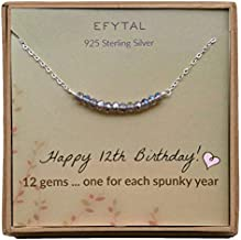 12th Birthday Gifts for Girls, Sterling Silver Necklace, 12 beads for 12 Year Old Girl, Bat Mitzvah Gift