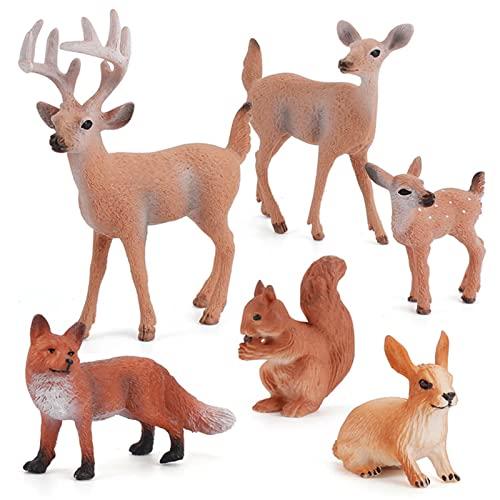 Hearthxy 6 Stück Tierfiguren Set Waldtiere Kinder Spielzeug Miniatur Wald Figuren Kaninchen Fuchs Rentier Skulptur Dekofigur Wohnzimmer Tischdeko Kinder Lernspielzeuge Spielzeug