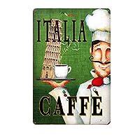 Italia Cafe 金属板ブリキ看板警告サイン注意サイン表示パネル情報サイン金属安全サイン