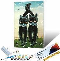 DIY 数字油絵 動物かっこいい猫 数字キットでペイント 大人の子供のためのギフトホームデコレーション 40x50cm DIYフレーム