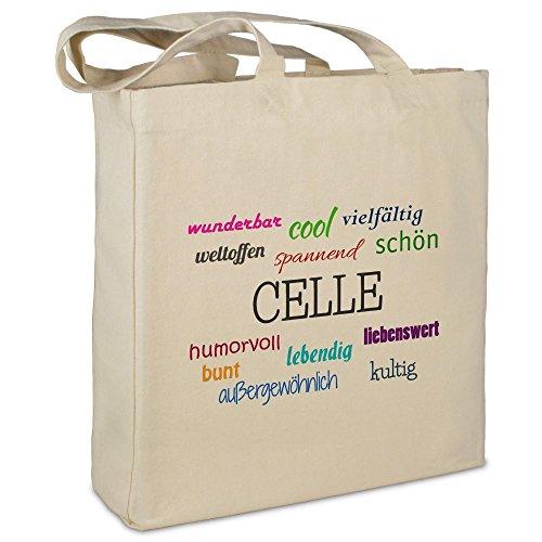 """Stofftasche mit Stadt/Ort """"Celle """" - Motiv Positive Eigenschaften - Farbe beige - Stoffbeutel, Jutebeutel, Einkaufstasche, Beutel"""