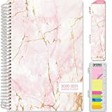 HARDCOVER Academic Year 2020-2021 Planner: (June 2020 Through July 2021) 5.5'x8' Daily Weekly Monthly Planner Yearly Agenda. Bonus Bookmark, Pocket Folder and Sticky Note Set (Pink Marble)